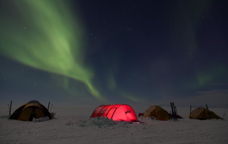 © traversée en ski pulka du glacier du Vatnajokull Islande